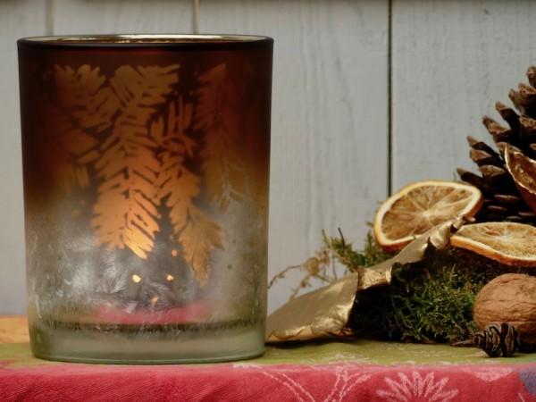 Kerzenglas mit winterlichem Muster, kupferfarben
