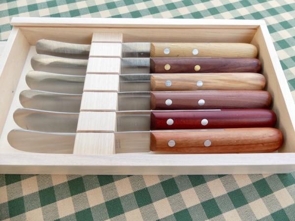 Geschenkset 6 Buckels-Messer mit verschiedenen Griffhölzern